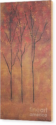 Autumn Fire Wood Print by Christie Minalga