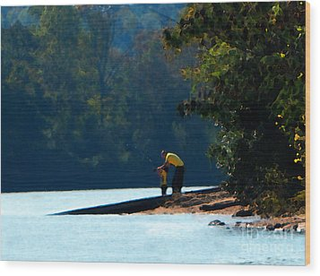 Autumn Fishing Lesson Wood Print by Cedric Hampton