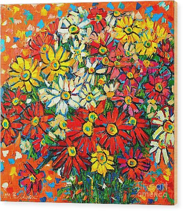 Autumn Flowers Colorful Daisies  Wood Print by Ana Maria Edulescu
