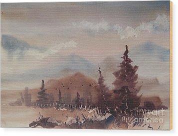Autumn Fog Wood Print by Micheal Jones