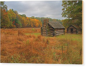 Autumn Foliage In Valley Forge Wood Print by Michael Porchik