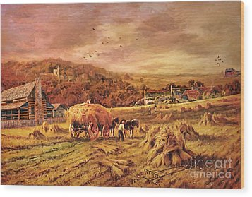 Wood Print featuring the digital art Autumn Folk Art - Haying Time by Lianne Schneider
