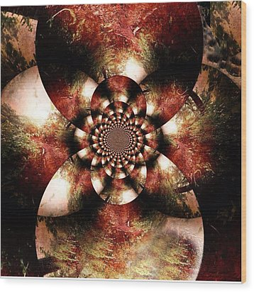 Autumn Fractal Abstract Wood Print by Maggie Vlazny