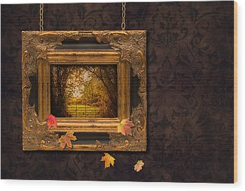 Autumn Frame Wood Print by Amanda Elwell