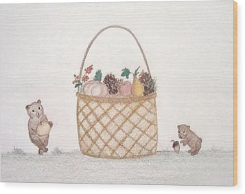 Autumn Fruit Basket And Bears Wood Print by Christine Corretti