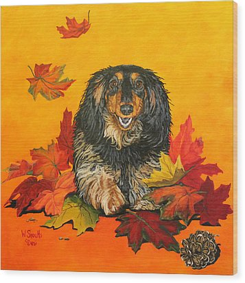 Wood Print featuring the painting Autumn Fun by Wendy Shoults