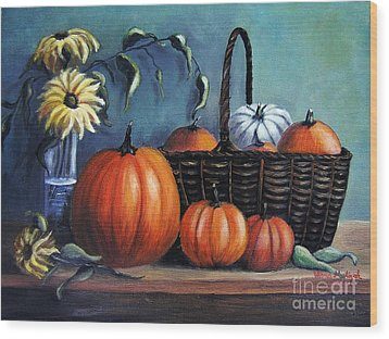Wood Print featuring the painting Autumn Gifts by Vesna Martinjak
