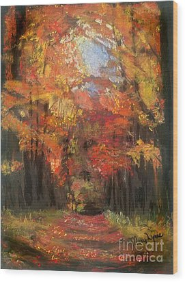 Wood Print featuring the painting Autumn Glow by Mary Lynne Powers