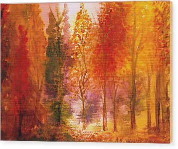 Autumn Hideaway Revisited Wood Print by Anne-Elizabeth Whiteway
