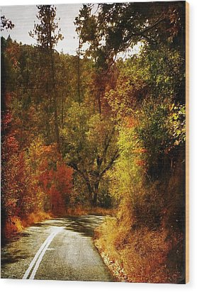 Autumn Highway Wood Print