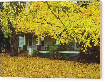 Wood Print featuring the photograph Autumn Homestead by Rodney Lee Williams