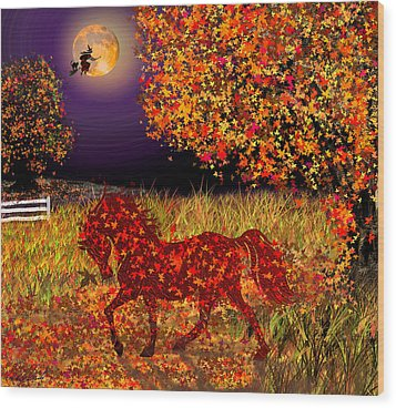 Autumn Horse Bewitched Wood Print by Michele Avanti