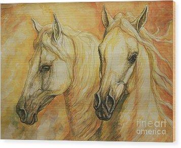 Autumn Horses Wood Print by Silvana Gabudean Dobre