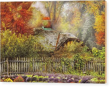 Autumn - House - On The Way To Grandma's House Wood Print by Mike Savad