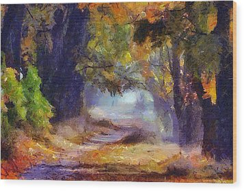 Wood Print featuring the painting Autumn In Forest by Georgi Dimitrov