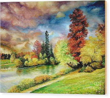 Wood Print featuring the painting Autumn In Park by Sorin Apostolescu