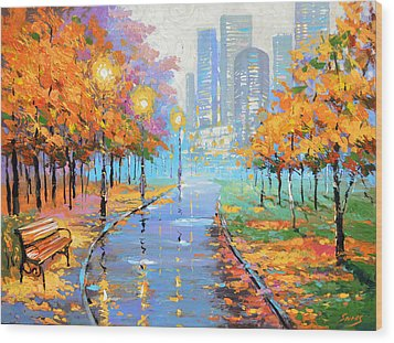 Autumn In The Big City Wood Print by Dmitry Spiros