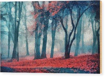 Autumn In The City Wood Print by Marina Likholat