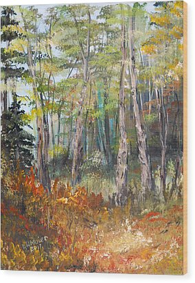 Autumn In The Forest Wood Print by Dorothy Maier