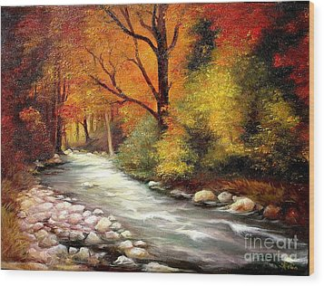 Wood Print featuring the painting Autumn In The Forest by Sorin Apostolescu