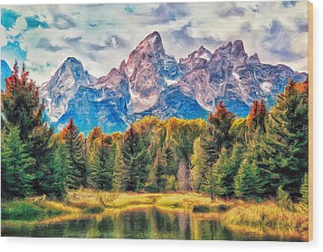 Autumn In The Tetons Wood Print