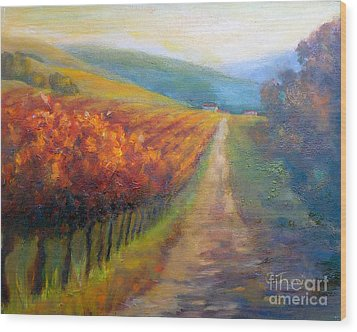 Autumn In The Vineyard Wood Print by Carolyn Jarvis