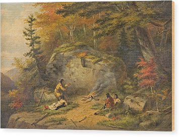Wood Print featuring the painting Autumn In West Canada Chippeway Indians by Cornelius Krieghoff