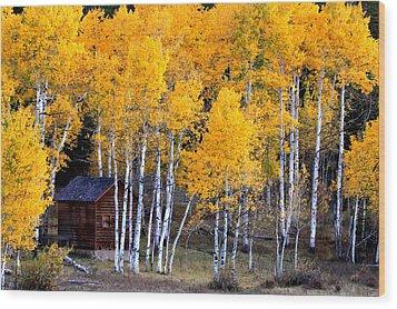 Autumn Inn Wood Print