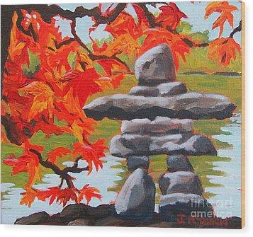 Autumn Inukshuk Wood Print
