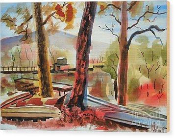 Autumn Jon Boats I Wood Print by Kip DeVore
