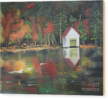 Wood Print featuring the painting Autumn - Lake - Reflecton by Jan Dappen