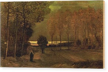 Autumn Landscape At Dusk 1885 Wood Print by Vincent Van Gogh