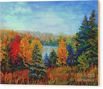 Autumn Landscape Quebec Red Maples And Blue Spruce Trees Wood Print by Carole Spandau