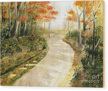 Autumn Lane Wood Print by Melly Terpening
