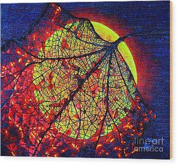 Autumn Leaf Moon Wood Print
