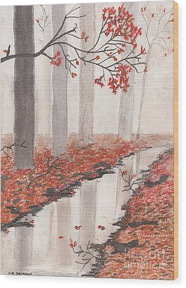 Wood Print featuring the pastel Autumn Leaves by David Jackson