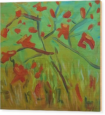 Autumn Leaves Wood Print by Francine Frank