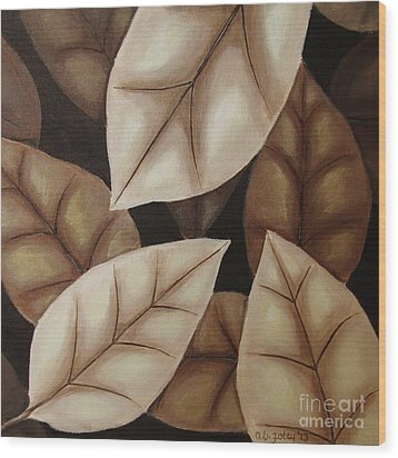 Autumn Leaves In Sepia Wood Print by Anna Bronwyn Foley
