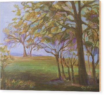 Wood Print featuring the painting Autumn Leaves by Mary Wolf