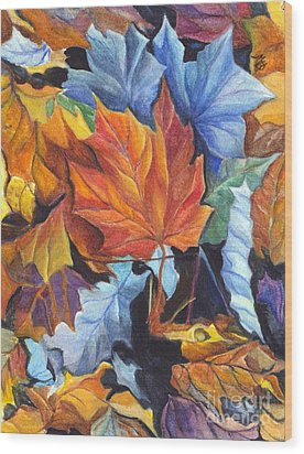 Autumn Leaves Of Red And Gold Wood Print by Carol Wisniewski