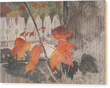 Autumn Leaves On Belmont St Wood Print