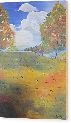 Wood Print featuring the painting Autumn Leaves Panel 2 Of 2 by Gary Smith
