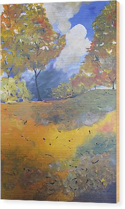 Wood Print featuring the painting Autumn Leaves Panel1 Of 2 Panels by Gary Smith