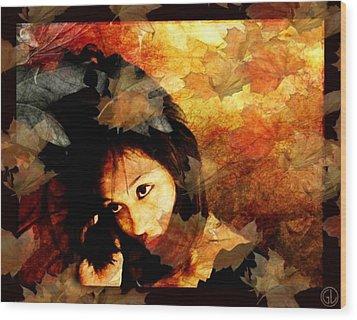Autumn Leaves Whirling Wood Print by Gun Legler