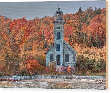 Autumn Lighthouse Wood Print