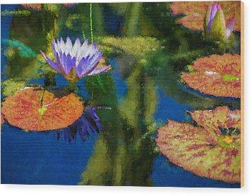 Autumn Lily Pad Impressions Wood Print