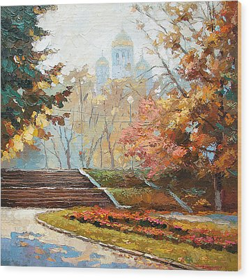 Wood Print featuring the painting Autumn Midday by Dmitry Spiros