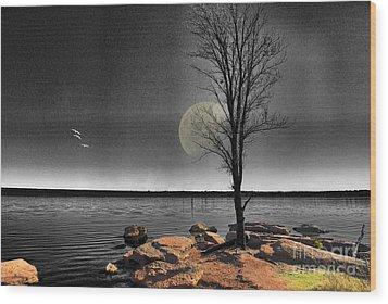 Autumn Moon Wood Print by Betty LaRue