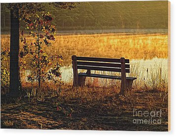 Autumn Morning At The Lake Wood Print