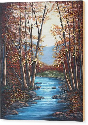 Wood Print featuring the painting Autumn Mountain Stream  by Fran Brooks